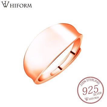 Real 925 Sterling Silver Rose Gold Oval Big Wide Smooth adjustable rings for women wedding band ring jewelry Punk