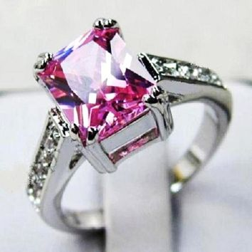 Pink Sapphire White Gold Filled Solitaire Ring Size 6