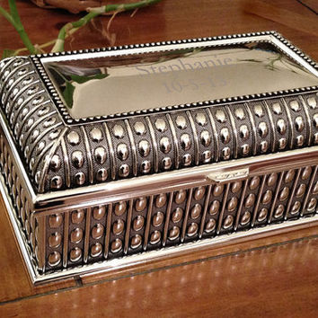 Silver Plated Marseille Jewelry Box with Antique by RumorsGifts
