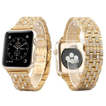 Men's 38mm Lab diamonds 14k Gold Finish Apple Watch Band