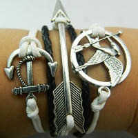 Of ancient silver arrows and hunger game parrot bird - white wax rope and black leather braided adjustable bracelet