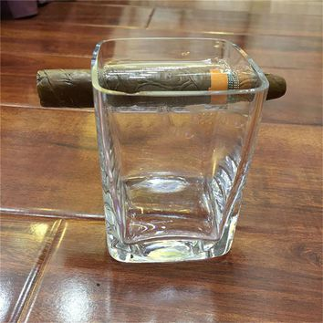 bar tools creative transparent cigar holder large beer whiskey glass crystal bottle square cup barware best gifts