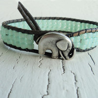 Mint Green Elephant Bracelet, Leather Wrap Bracelet, Stacked Friendship Bracelet, Good Luck Bracelet, Boho Bohemian Chic, Baby Elephant