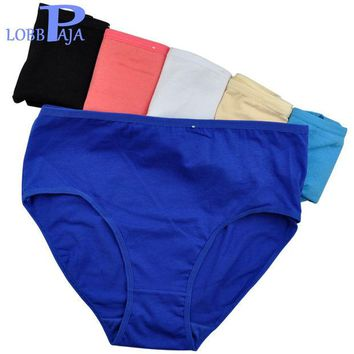 DKF4S LOBBPAJA Brand Lot 6 pcs Woman Underwear Cotton High Waist Briefs Ladies Mothers Panties Knickers Intimates Plus Size for Women