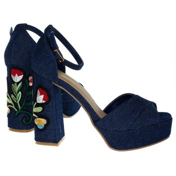 Spirit16S Blue Denim By Bamboo, Embroidery Platform Chunky Block Heel Sandal