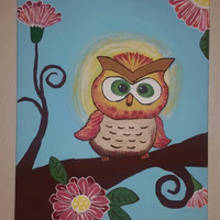 Hand painted wood framed canvas - Friendly Owl