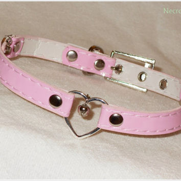 Pink Beloved Kitten Collar -  3 Heart  Ring Kitten Collar