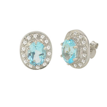 Blue Topaz Gemstone Stud Earrings 925 Sterling Silver Oval Micropave CZ Accent