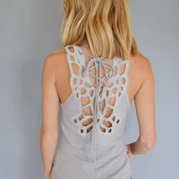 Desert Cutout Top Gray