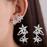 Floral Simple Design Silver Accessory Earrings [10427403348]