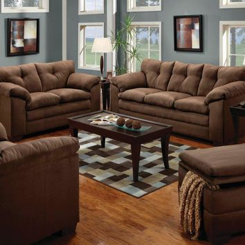 Luna Chocolate Sofa and Loveseat