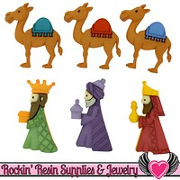 Jesse James Buttons 6pc We The Kings Christmas Nativity Buttons