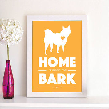 Home Is Where the Bark Is Shiba Inu Puppy Dog Animal Pet Silhouette Poster Wall Art Print Dog Lovers Home Decor Room Decor