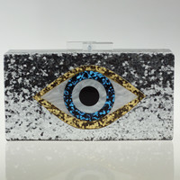 New Famous Designer Handbag Clutch for Women Mosaic Eye Acrylic Clutch Shoulder Bag Crossbody Chain Bling Bling Party Purse