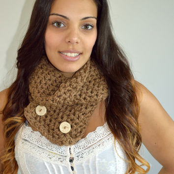 Mocha Brown Crochet Infinity Scarf with earthy ceramic buttons, Knit Scarf