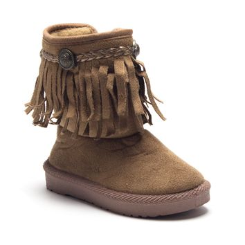 Girls BYX-25I Toddlers Suede Moccasin Fringe Ankle Boots