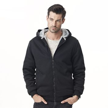 New Men Hoodie Sweatshirt Brand Clothing Classic Solid Color Fleece Lined Thick Winter Jacket Male Hooded Tracksuit
