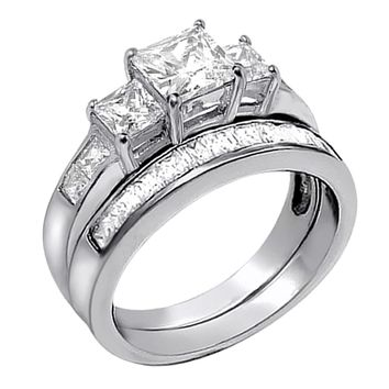 Devuggo 2.01Carat TCW Three Stone Princess Cut CZ 925 Sterling Silver Wedding Rings Bridal Set
