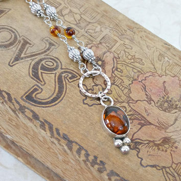 Amber Necklace Beaded Necklace Statement Necklace Amber Jewelry Sterling Silver Pendant Necklace Natural Amber Womens Gift for Mom For Her