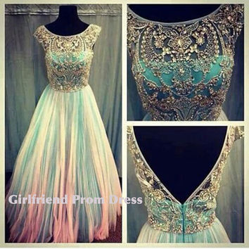A-line beaded chiffon prom dress, graduation dress, bridesmaid dress, evening dress, formal dress