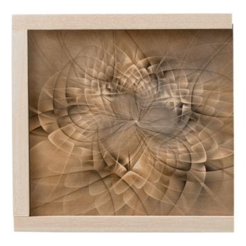 Earth Tones Abstract Modern Fractal Art Texture Wooden Keepsake Box