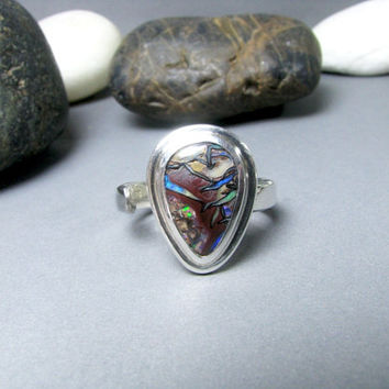 Boulder Opal Ring - Handmade Jewelry, Sterling Silver Ring, Opal Ring, Australian Opal, Adjustable Band, Opal Jewelry, Womans Ring