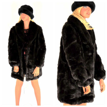 Vintage 80s black mink faux fur coat size S / M, black faux fur jacket, fake fur winter coat, 1980s faux mink coat, SunnyBohoVintage