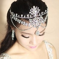 Type62 Lady Diamond Flower Wedding Bridal Head Wear Hair Band Headdress Chain Jewelry+earrings
