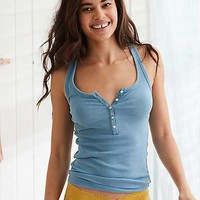 Aerie Real Soft® Ribbed Henley Tank, Blue Haven