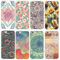 Shell For Apple iPhone X 5 5S SE 5C 6 6S 7 8 Plus 6SPlus Back Case Cover Printing Mandala Flower Datura Floral Cell Phone Cases