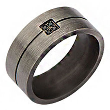 Winchester – FINAL SALE Brushed gunmetal finish stainless steel men's ring with black cubic zirconias