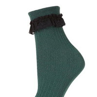 Lace Trim Ankle Socks - Forest