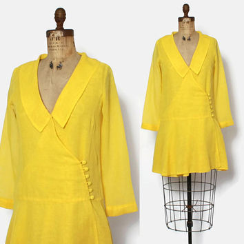 Vintage 60s Mod Yellow MINI Dress / 1960s Gauzy Semi Sheer Drop Waist Bright Mini