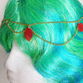 Gold Hair Chain, Head Chain, Red Leaves, Hair Jewelry, Chain Crown, Goddess Chain, Forest Crown, Gypsy Headpiece, Boho Headband