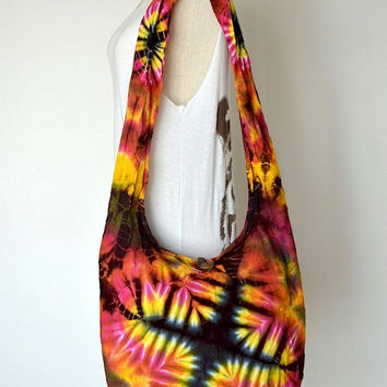 Hippie Tie Dye Hobo Bag Sling Shoulder Crossbody Purse Boho Batik Design HTD443