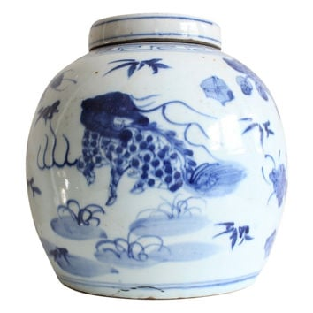 """Beautiful Blue and White Porcelain Ginger Jar Kylin and Phoenix Motif 10"""""""