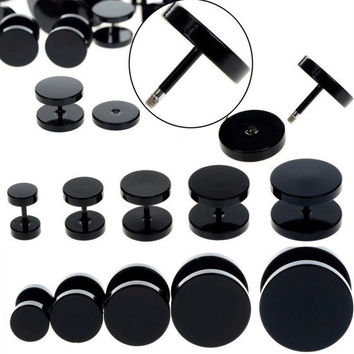 10pcs Black Stainless Steel Fake Cheater Ear Plugs Gauge Body Jewelry Pierceing
