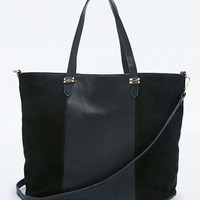 Black Suede Panel Tote Bag - Urban Outfitters