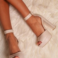 Florinia Nude Crocodile Effect Chunky Platforms | Pink Boutique