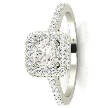 .2.35 Ctw 14K White Gold GIA Certified Cushion Cut Stunning Vintage Halo Style Diamond Engagement Ring with Milgrain, 2 Ct I-J VS1-VS2 Center