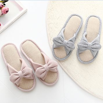 Fashion Bowknot Women Girl's Flax Soft Fleece Bedroom Indoor Shoes House Slipper