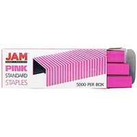 JAM Paper Standard Staples, Pink, 5000/Pack | Staples