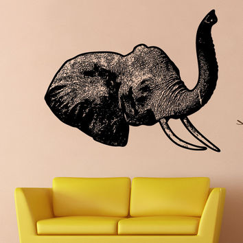 Vinyl Wall Decal Sticker Elephant Head #5479
