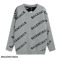 Balenciaga 2018 new trend letter logo embroidery round neck long-sleeved sweater grey