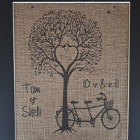 Bicycle Couple Burlap Print with Names - Bicycle Wedding - Wedding Date - Heart Tree - Wedding Gift - Burlap Print - Wedding Tree