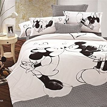Mickey and Minnie Mouse Queen Adults Cartoon Queen Size Comforter Bedding Set 5 Pieces Flat Sheet, Duvet Cover and 2 Pillowcase