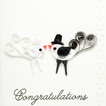 Wedding Congratulations Card - Love Bird - Mr and Mrs - paper quilling cards - Handmade greeting