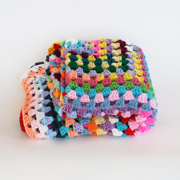 Afghan Crochet Blanket -One of a Kind Color Granny Square Full Large