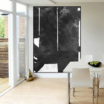 large canvas art original Abstract painting black and white Acrylic painting, extra large wall art, modern Contemporary Painting