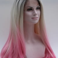 Blonde/Pink Straight Synthetic Lace Front Wig